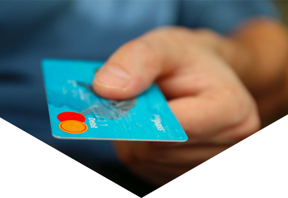 Close up of person holding credit card